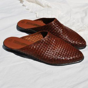 Vintage Shoes - NOS The Leather Collection Woven Leather Mules